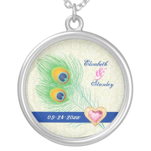 Peacock feather jewel heart wedding anniversary necklace