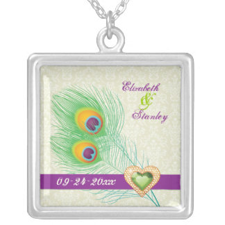 Peacock feather jewel heart wedding anniversary necklaces