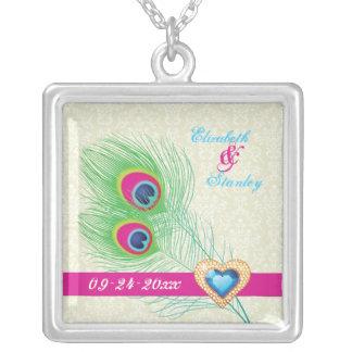 Peacock feather jewel heart wedding anniversary custom necklace