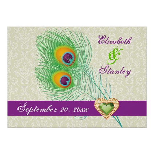 Peacock feather jewel heart wedding anniversary poster