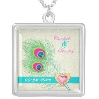 Peacock feather jewel heart wedding anniversary square pendant necklace