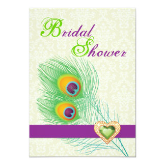 Peacock feather jewel heart wedding bridal shower 5x7 paper invitation card