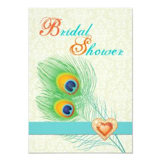 "Peacock feather jewel heart wedding bridal shower 5"" x 7"" invitation card"