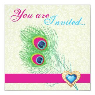 "Peacock feather jewel heart wedding invitation 5.25"" square invitation card"