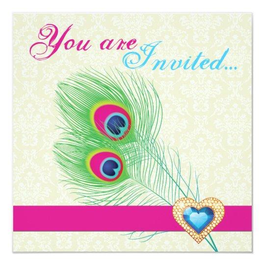 Peacock feather jewel heart wedding invitation