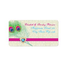 Peacock feather jewel heart wedding label