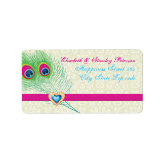Peacock feather jewel heart wedding label address label