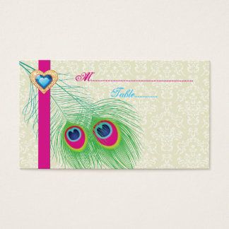 Peacock feather jewel heart wedding place card