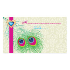 Peacock feather jewel heart wedding place card business card template