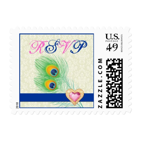 Peacock feather jewel heart wedding RSVP stamp