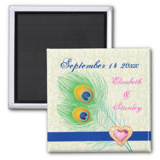 Peacock feather jewel heart wedding Save the Date 2 Inch Square Magnet