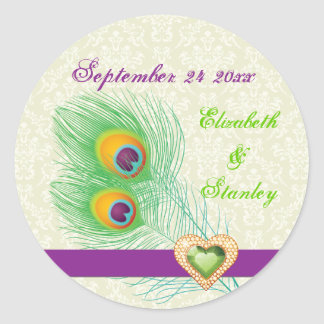 Peacock feather jewel heart wedding Save the Date Classic Round Sticker