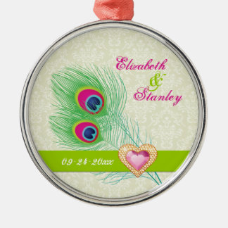 Peacock feather jewel heart wedding Save the Date Metal Ornament