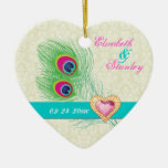 Peacock feather jewel heart wedding Save the Date Christmas Tree Ornaments