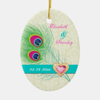 Peacock feather jewel heart wedding Save the Date Christmas Ornament