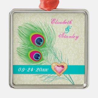 Peacock feather jewel heart wedding Save the Date Ornaments