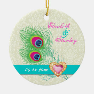 Peacock feather jewel heart wedding Save the Date Ornament