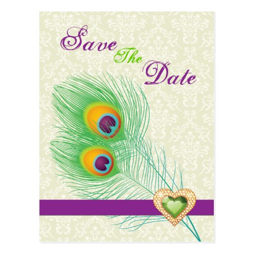 Peacock feather jewel heart wedding Save the Date Post Card