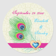 Peacock feather jewel heart wedding Save the Date Round Stickers