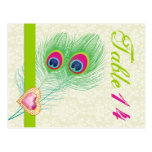 Peacock feather jewel heart wedding table number postcards
