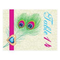 Peacock feather jewel heart wedding table number postcard