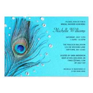 "Peacock Feather Jewels Aqua Bridal Shower 5"" X 7"" Invitation Card"