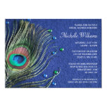 Peacock Feather Jewels Blue Bridal Shower 5x7 Paper Invitation Card
