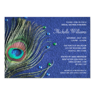 Peacock Feather Jewels Blue Bridal Shower Custom Invite