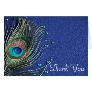 Peacock Feather Jewels Blue Thank You Stationery Note Card