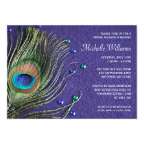 Peacock Feather Jewels Purple Bridal Shower Card
