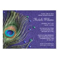Peacock Feather Jewels Purple Bridal Shower Invitation