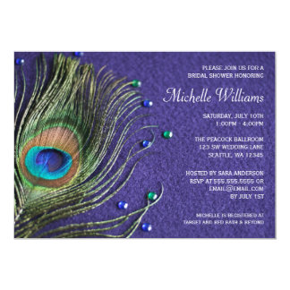Peacock Feather Jewels Purple Bridal Shower 5x7 Paper Invitation Card