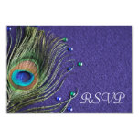 Peacock Feather Jewels Purple RSVP Response Card Invitation