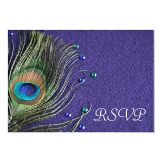 "Peacock Feather Jewels Purple RSVP Response Card 3.5"" X 5"" Invitation Card"