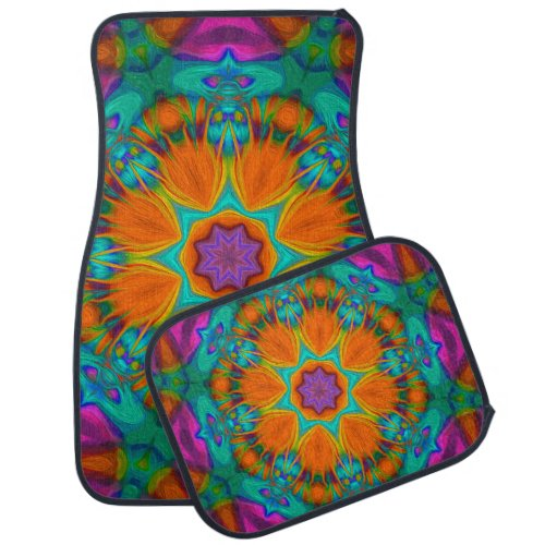 Peacock feather kaleidoscope 2 car floor mat