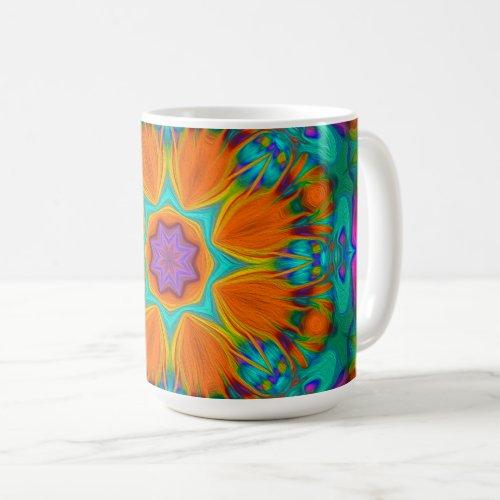 Peacock feather kaleidoscope 2 coffee mug
