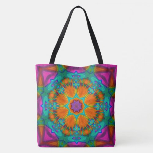 Peacock feather kaleidoscope 2 tote bag