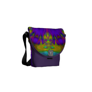 Peacock feather kaleidoscope aum courier bag
