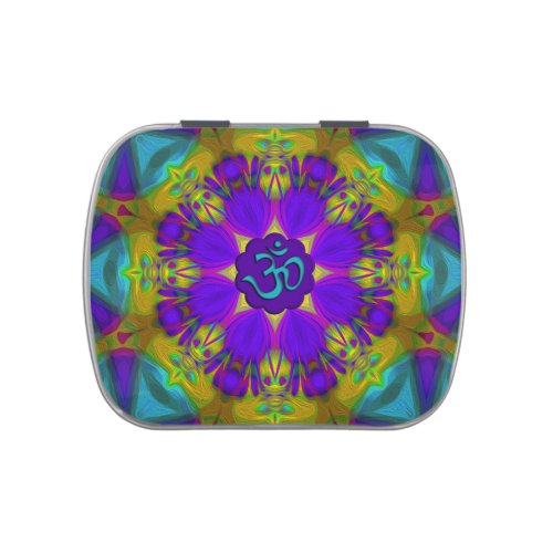 Peacock feather kaleidoscope aum jelly belly candy tin