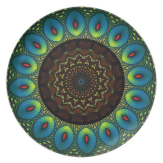 Peacock Feather Kaleidoscope Decorative Plate