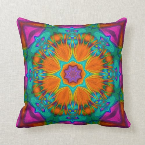 Peacock feather kaleidoscope throw pillow
