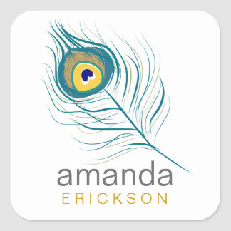 Peacock Feather Labels Square Stickers