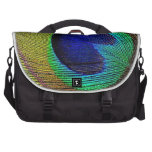 Peacock feather laptop commuter bag
