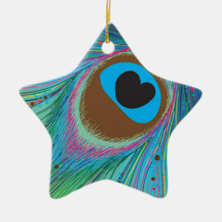 Peacock feather lines background ceramic ornament
