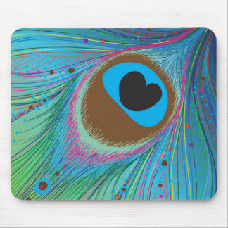 Peacock feather lines background mouse pad