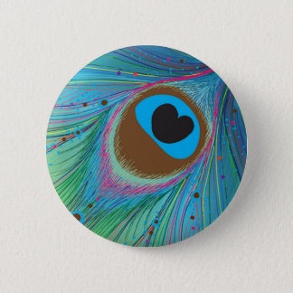 Peacock feather lines background pinback button