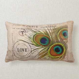 Peacock Feather Love Note Lumbar Pillow