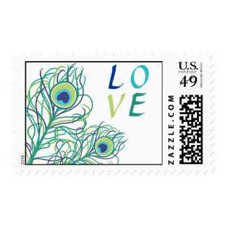 Peacock Feather LOVE Postage Stamp