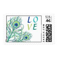 Peacock Feather LOVE Postage Stamps