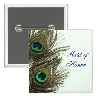Peacock Feather Maid of Honor Pin